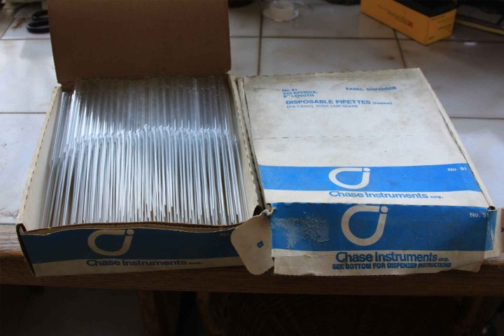 Two boxes of pipets, 250ea. box, $5